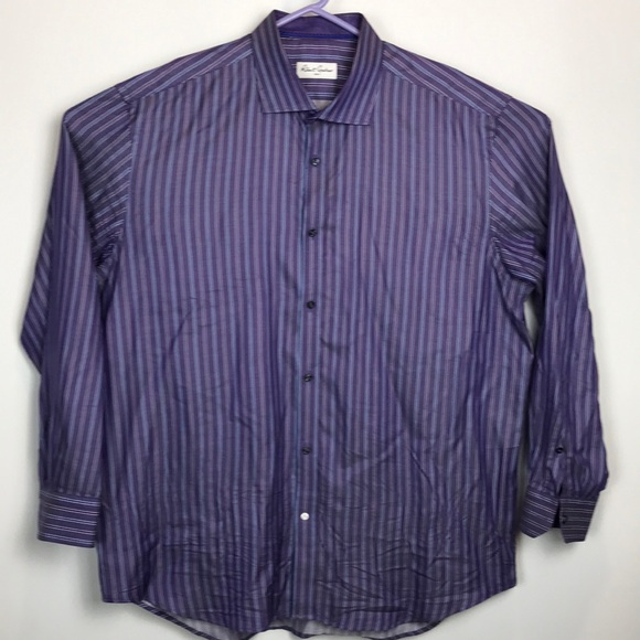 d3afa9c5a9 Robert Graham Shirts | Purple Blue Stripe Button Shirt 18 | Poshmark